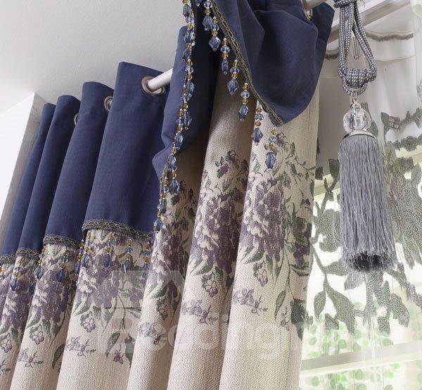 Beautiful Peony Flower Pattern Grommet Top Custom Curtain