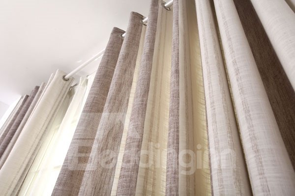 Stylish Vertical Stripes Coffee Gray Grommet Top Custom Curtain