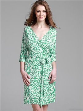 High Quality Elegant Green Plant Design Robe for Summer