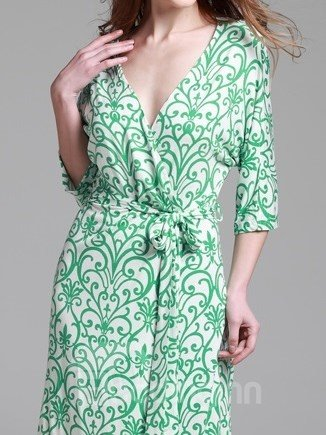 High Quality Elegant Green Plant Design Robe for Summer