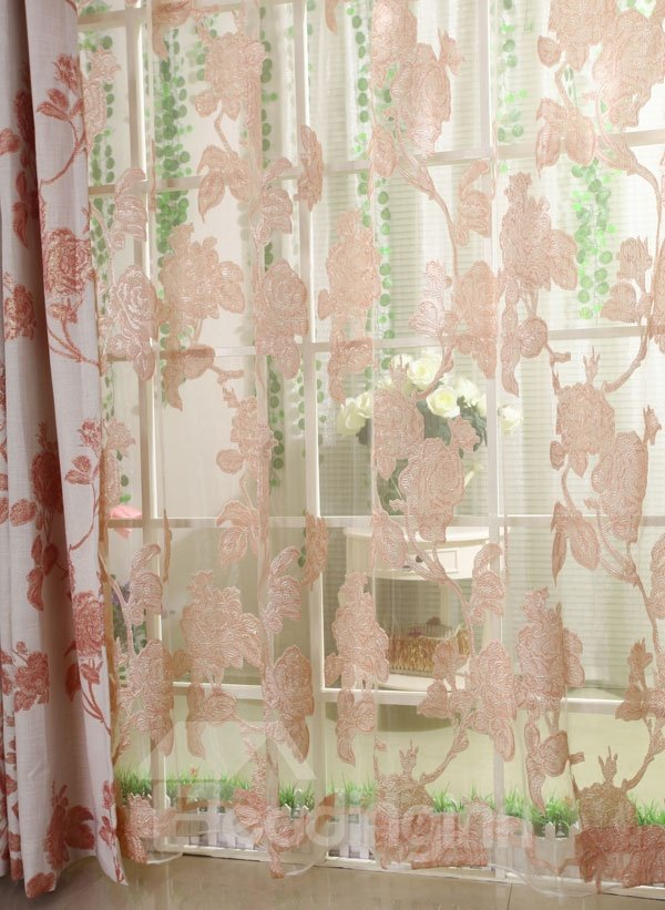 Elegant Burnout Flower Pink One Piece Custom Sheer Curtain