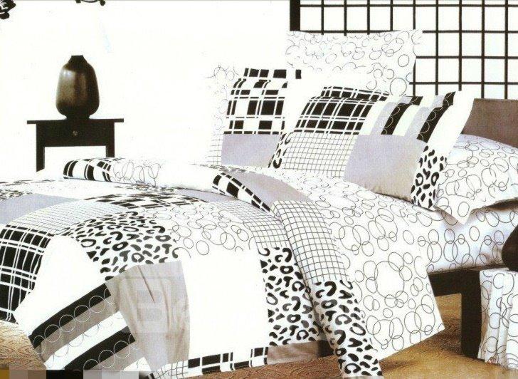 Modren Life Leopard and Circle Print 4-Piece Cotton Duvet Cover Sets
