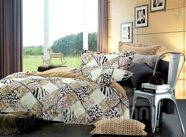 Sexy Leopard and Fur Print 4-Piece Cotton Duvet Cover Sets