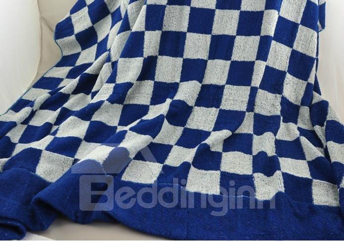 Fashion Elegant Deep Blue Checks Design Full Cotton Bath Towel