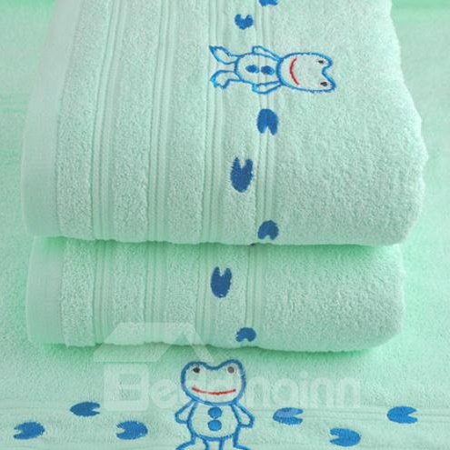 Cute Cartoon Frog Printing Full Cotton Bath Towel for Children