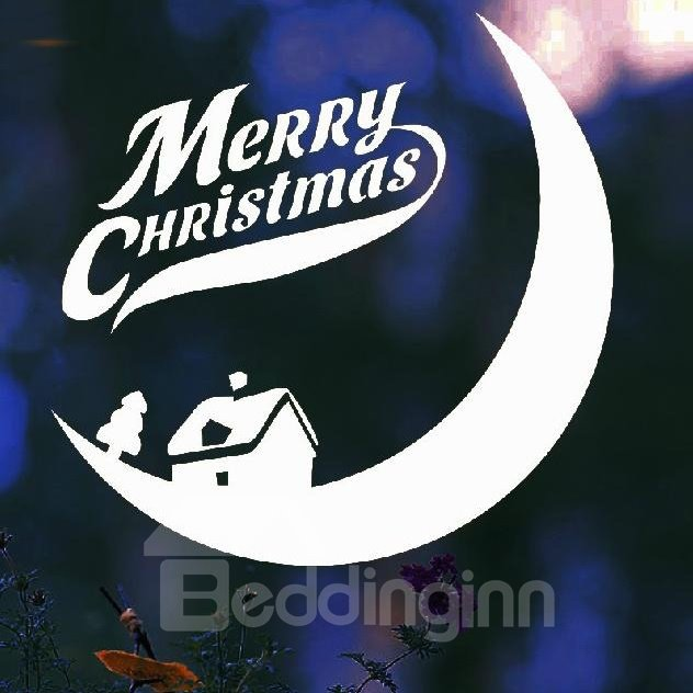 New Arrival Lovely Cozy House Moon Design Christmas Gift Wall Stickers