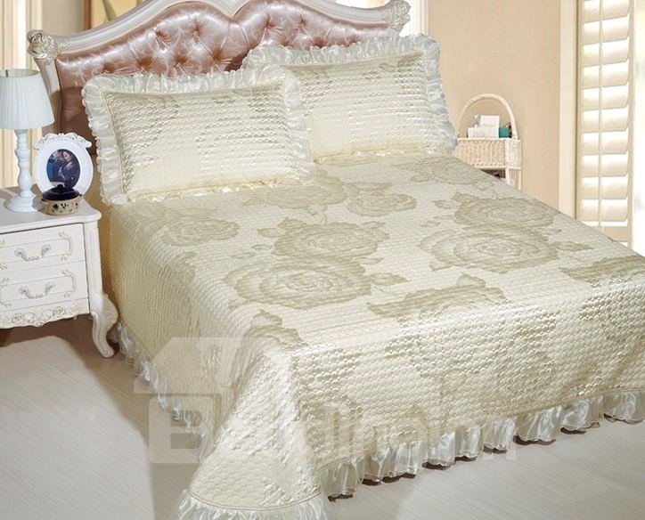 Glamorous Floral Pattern Silver Jacquard Print Bed in a Bag Set