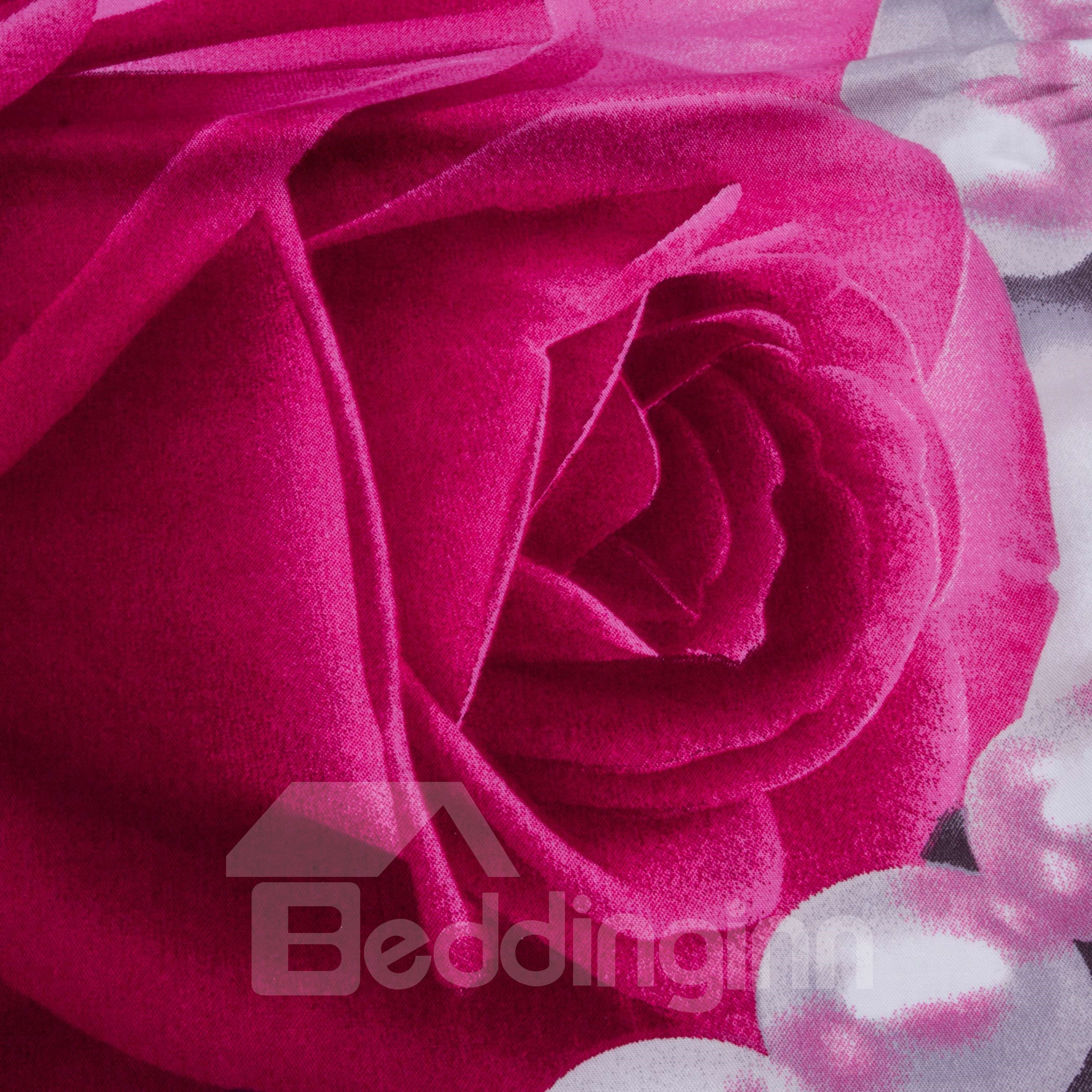 3D Pink Rose and Pearl Printed Cotton 4-Piece Bedding Sets/Duvet Cover
