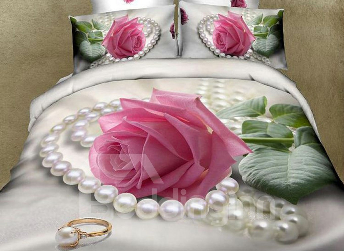 Charming Pink Rose and Pearl Print 4-Piece Cotton Duvet Cover Sets