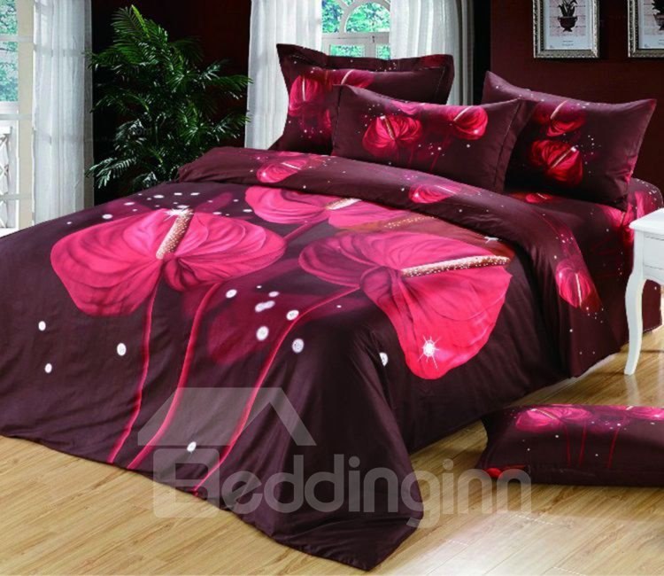 Elegant Red Calla Lily Print 4-Piece Cotton Duvet Cover Sets