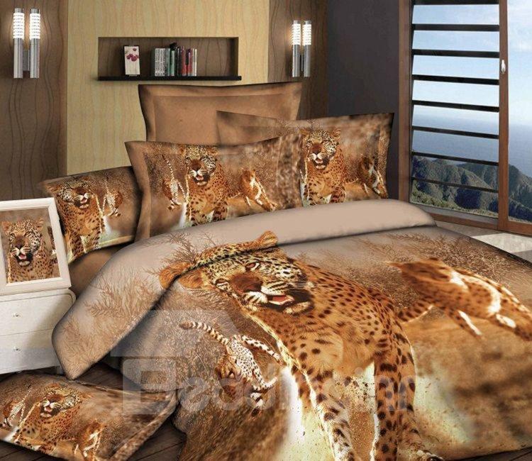 Awesome Leopard Print 4-Piece Cotton Duvet Cover Sets