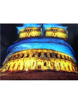 Golden Roman Colosseum Print 4-Piece Cotton Duvet Cover Sets
