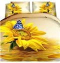 3D Sunflower and Blue Butterfly Printed Cotton 4-Piece Bedding Sets