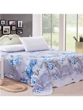 Adorable Blue Peony Print Full Cotton Sheet