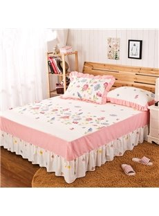 Cozy Comfortable Flower Border Pattern Bed Skirt
