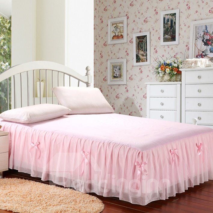 Homelike Solid Color and Bowknot Bed Skirt
