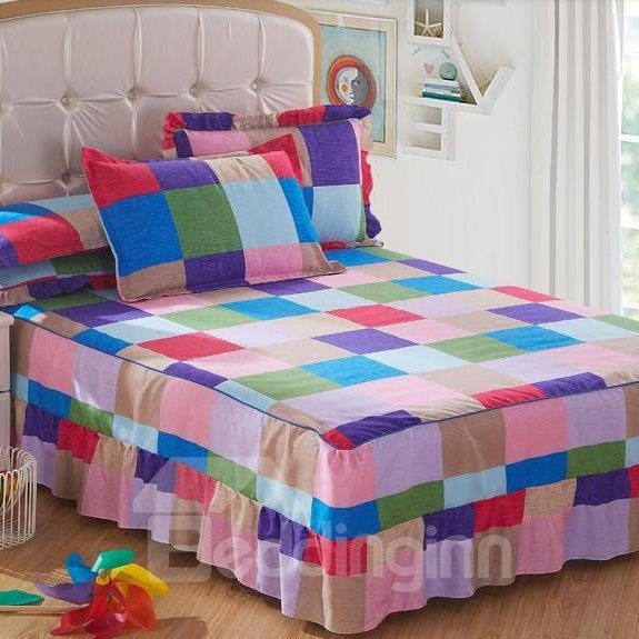 Super Comfortable Coloured Squares Pattern Bed Skirt