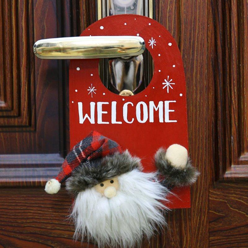 Deer Santa Pattern Door Decor for House Bar Christmas Decoration