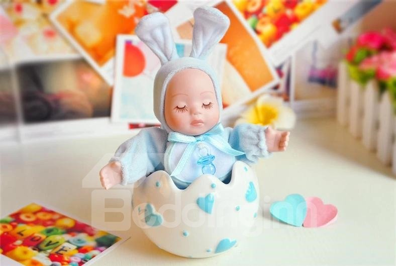New Arrival Lovely Blue Rabbit And Heart Design Cradlesong Song Music Box