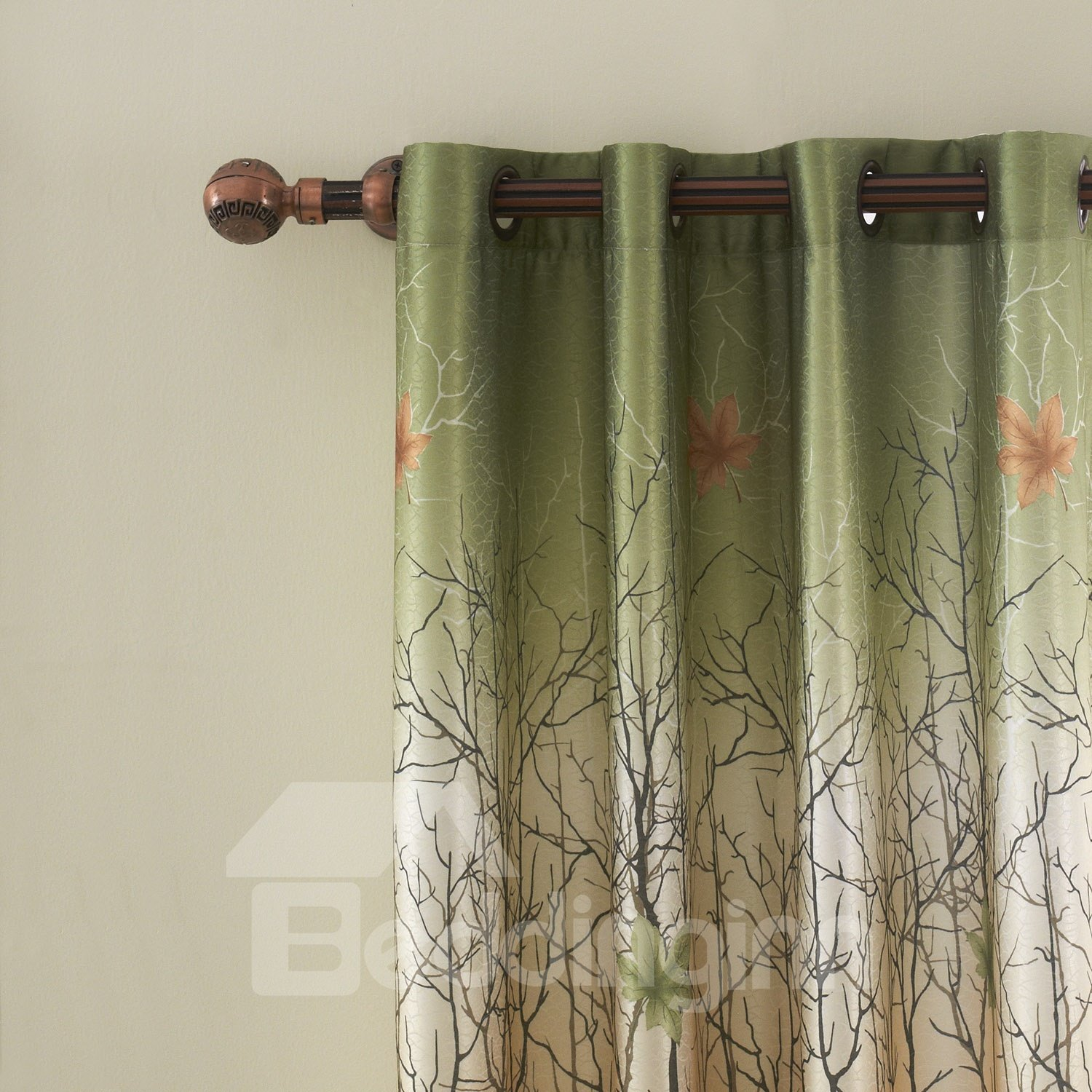 Country Style Trees and Fallen Leaves Print Grommet Top Curtain