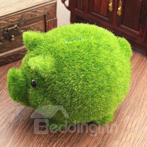 New Arrival Lovely Creative Artificial Grass Pig Design Money Box