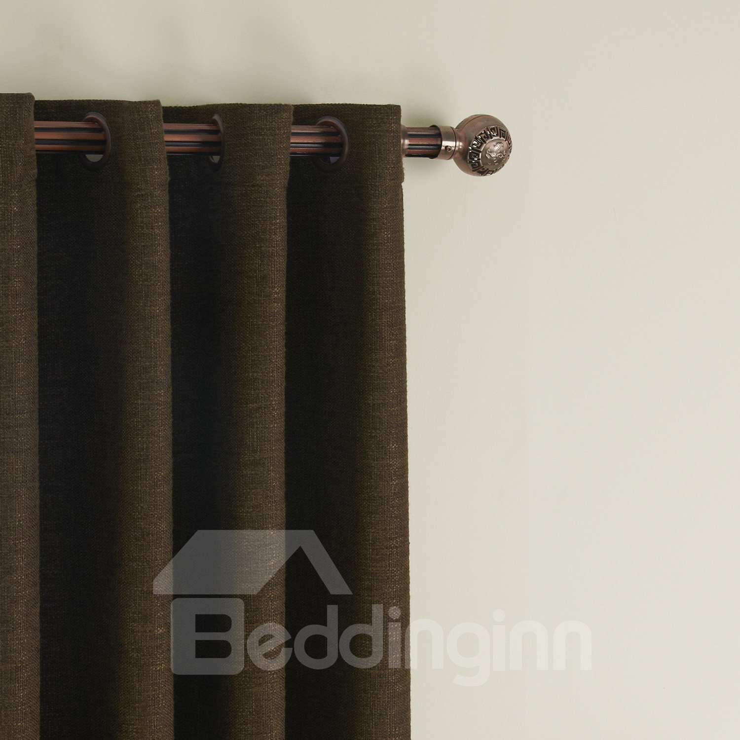 Best Quality Dark Brown Grommet Top Custom Curtain