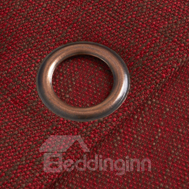 Modern Home Fashion Wine Red Grommet Top Custom Curtain