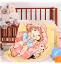 Super Lovely Happy Girl and Cats Pattern Children Blanket