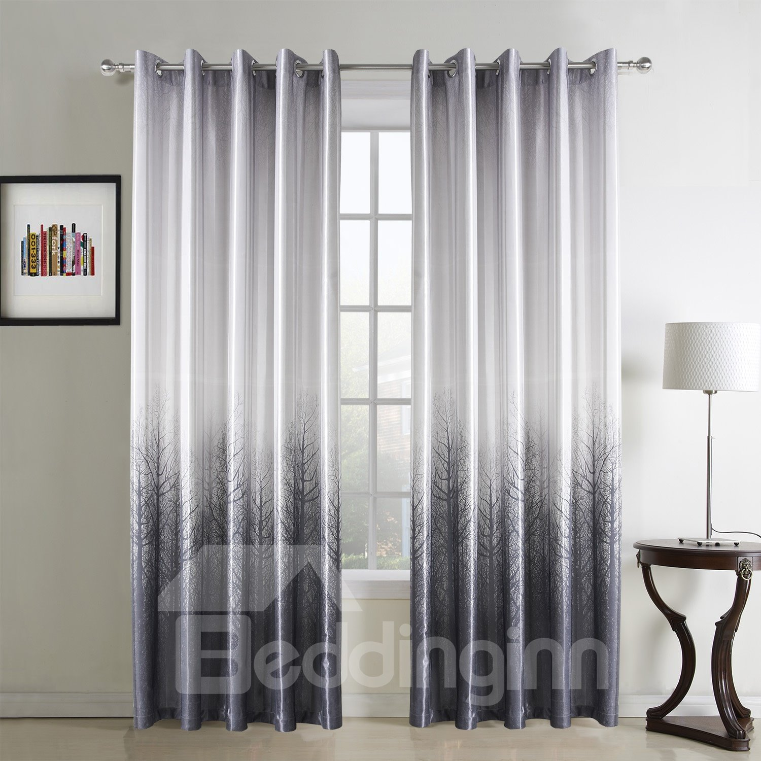 Top Quality Pretty Pastoral Style Black Custom Curtain
