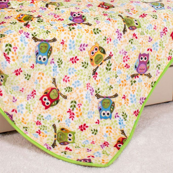 New Style Colored Owls Rest on Branches Pattern Children Blanket