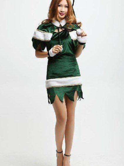 Hot Selling Fabulous Pretty Green Christmas Gift Suit Costume