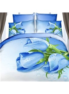 Amazing Dewy Blue Rose Print 4-Piece Cotton Duvet Cover Sets
