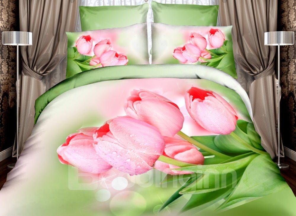Fancy Pink Tulip Print 4-Piece Cotton Duvet Cover Sets