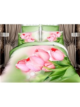 Fancy Pink Tulip Print 4-Piece Cotton Duvet Cover Sets