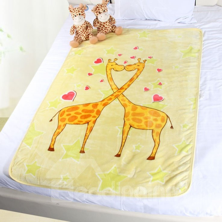 Cozy and Comfortable Two Giraffes Kissing Pattern Children Yellow Blanket
