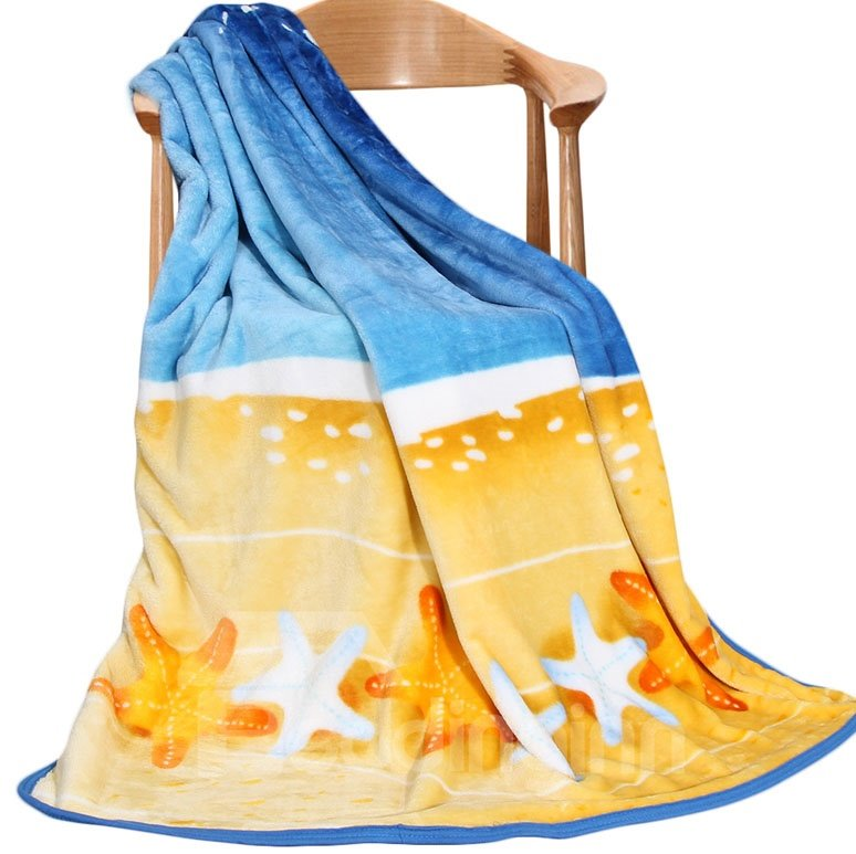 Unique Yellow Starfish Painting Pattern and Half of Sky Blue Blanket