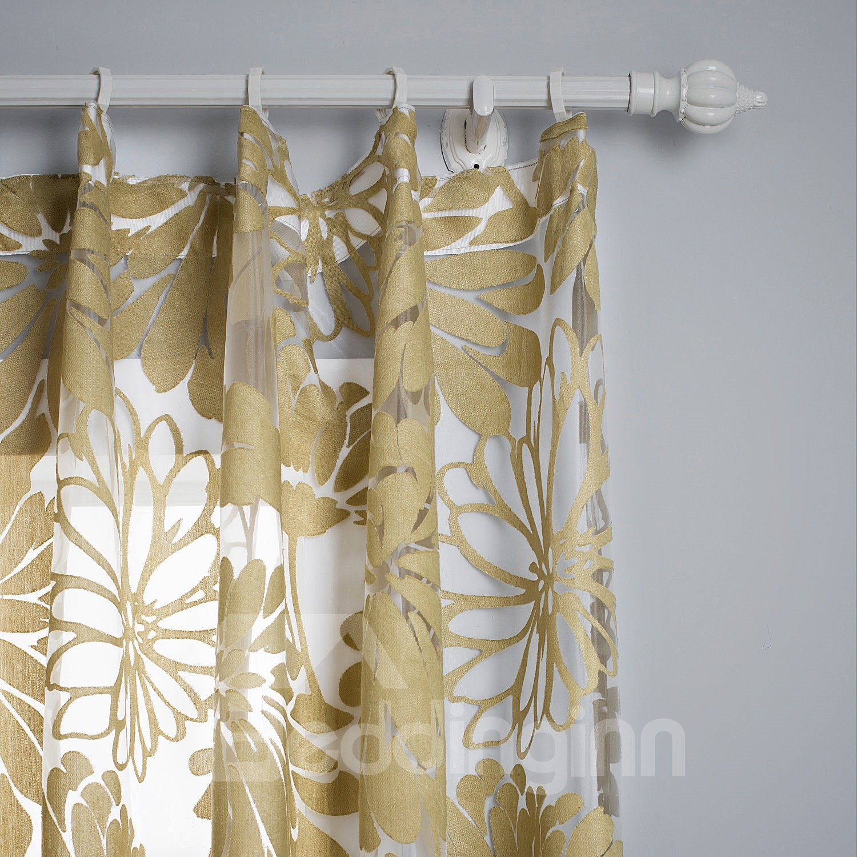 Stylish Botanical Pattern Custom Made Sheer Curtain