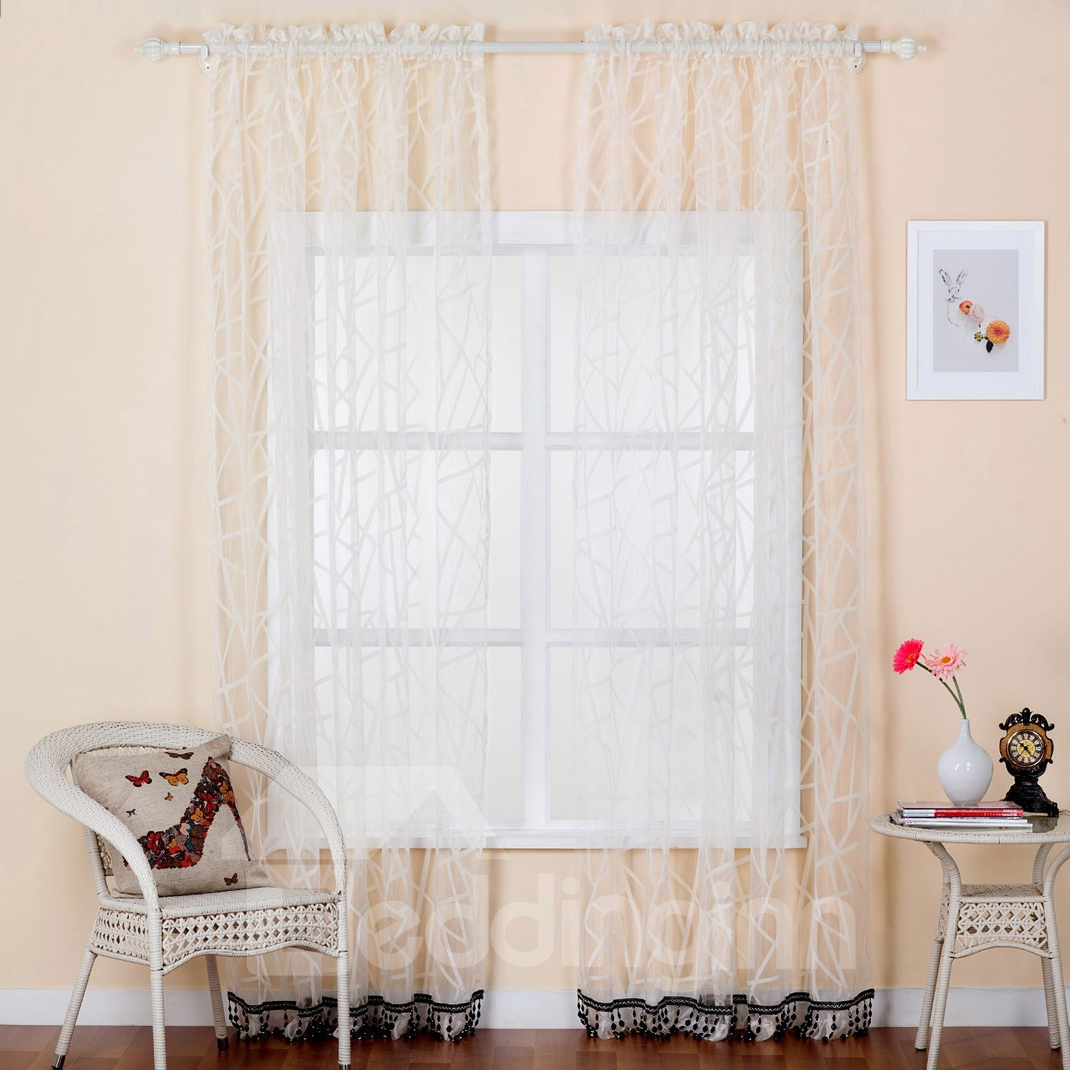 Pretty Beige Custom Sheer Curtain with Beads