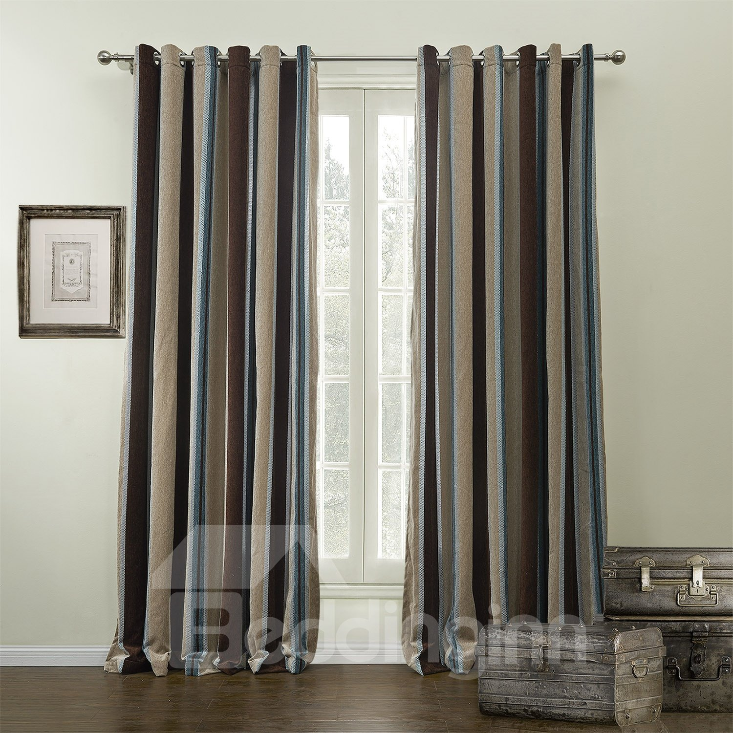 Pretty Stripes Printing Two Pieces Custom Curtain with Lining