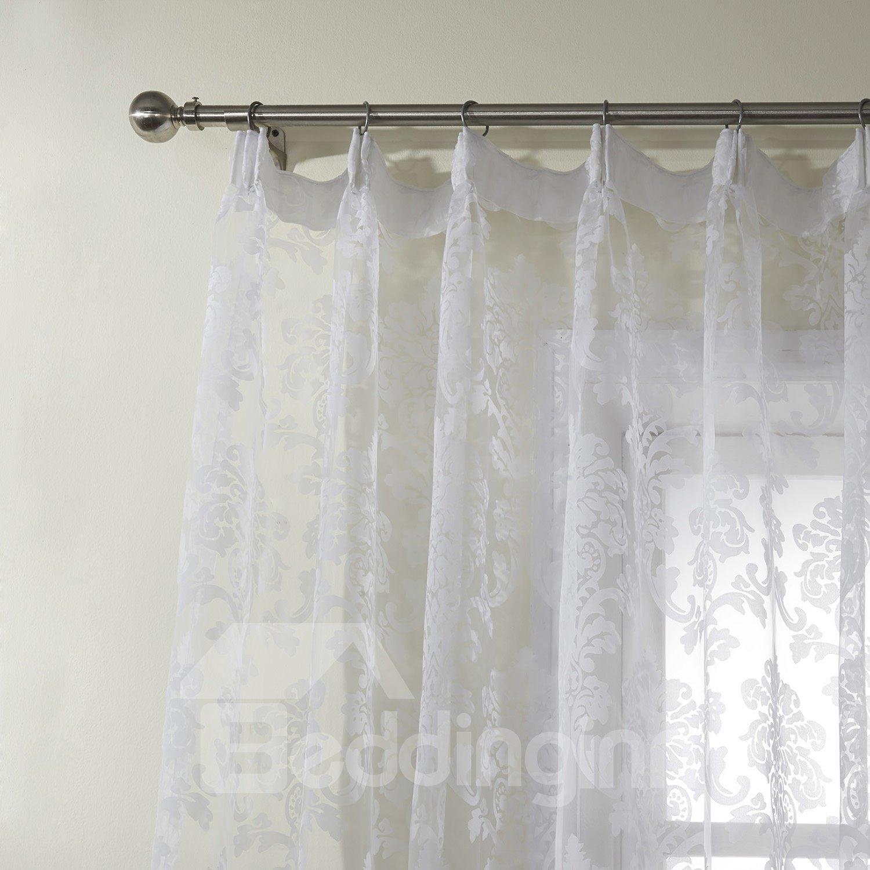 New Flower Pattern Pretty White Custom Sheer Curtain