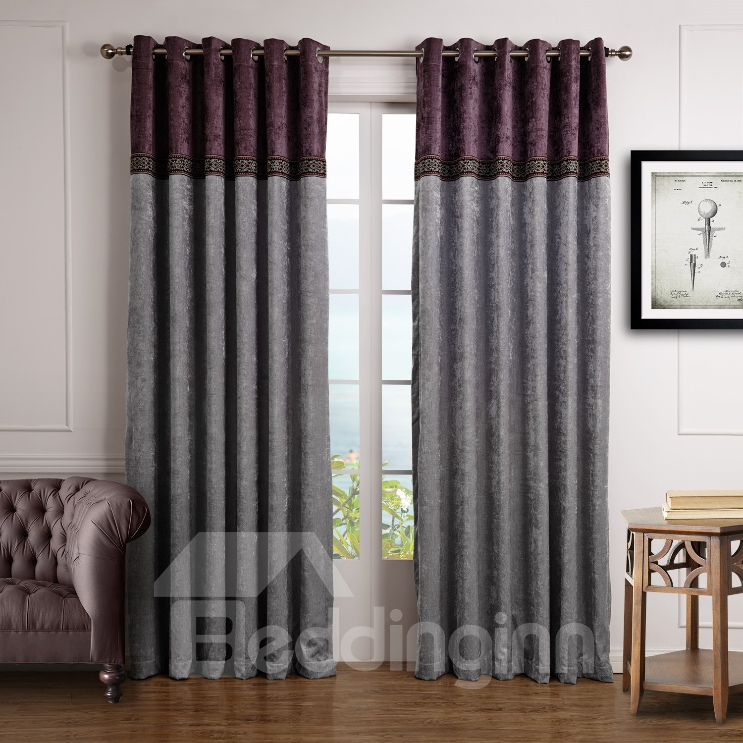 Fancy Joint Color Decorative Border Design Custom Curtain