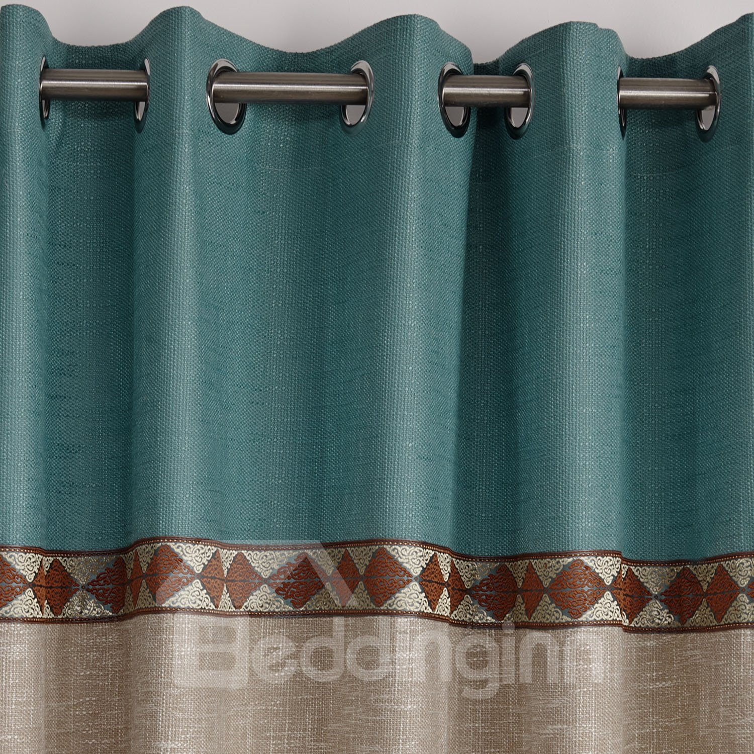 Fancy Blue And Beige Joint Color Decorative Border Design Custom Curtain
