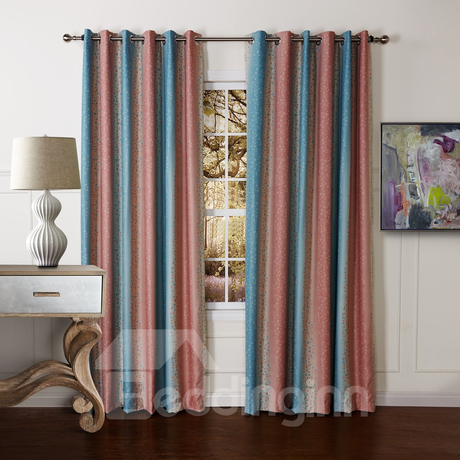 Double Sided Printing Pretty Polyester Custom Curtain