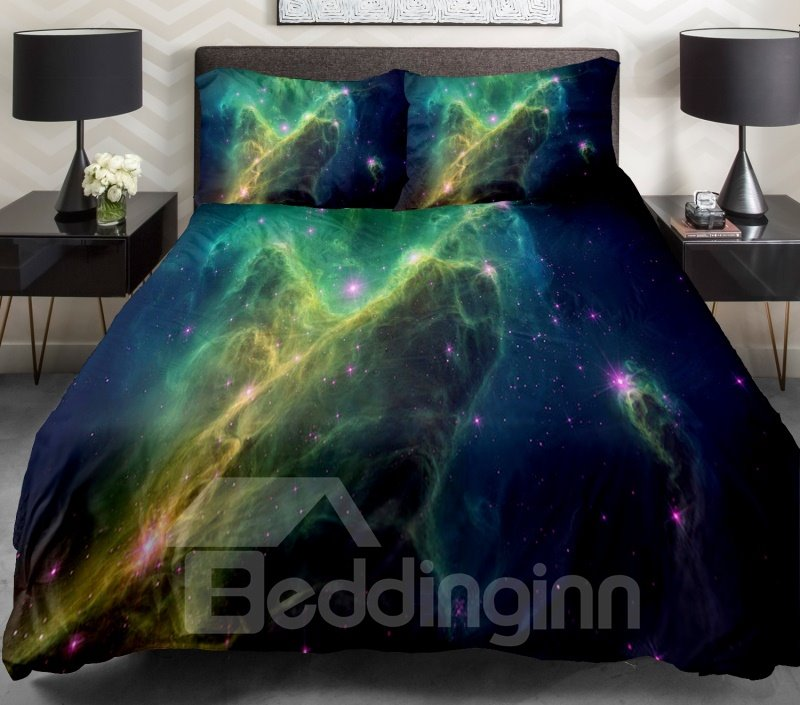 Unbelieveable Green Galaxy and Shiniing Star Print 4-Piece Duvet Cover Sets