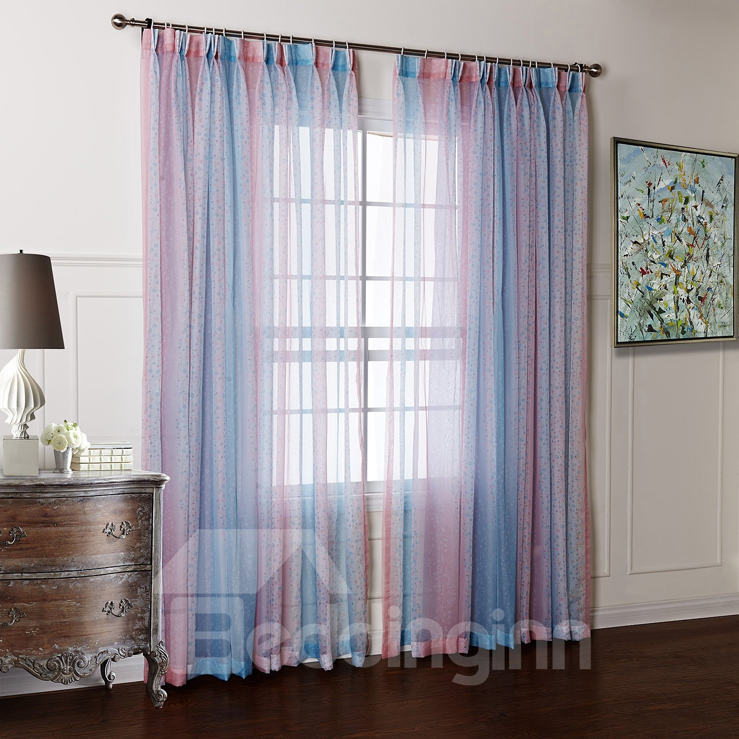 pretty blue and pink transparent yarn custom sheer curtain. Black Bedroom Furniture Sets. Home Design Ideas