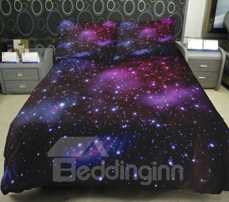 Dreamlike Purple Nebula Print 4-Piece Duvet Cover Sets