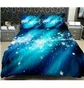Bright Blue Nebula Print 4-Piece Duvet Cover Sets