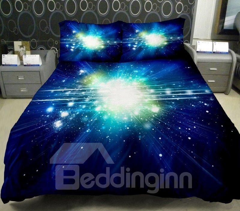 Dazzling Star with Dark Blue Background Print 4-Piece Duvet Cover Sets