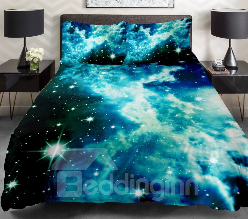 Shining Star and Blue Clouds Print 4-Piece Duvet Cover Sets