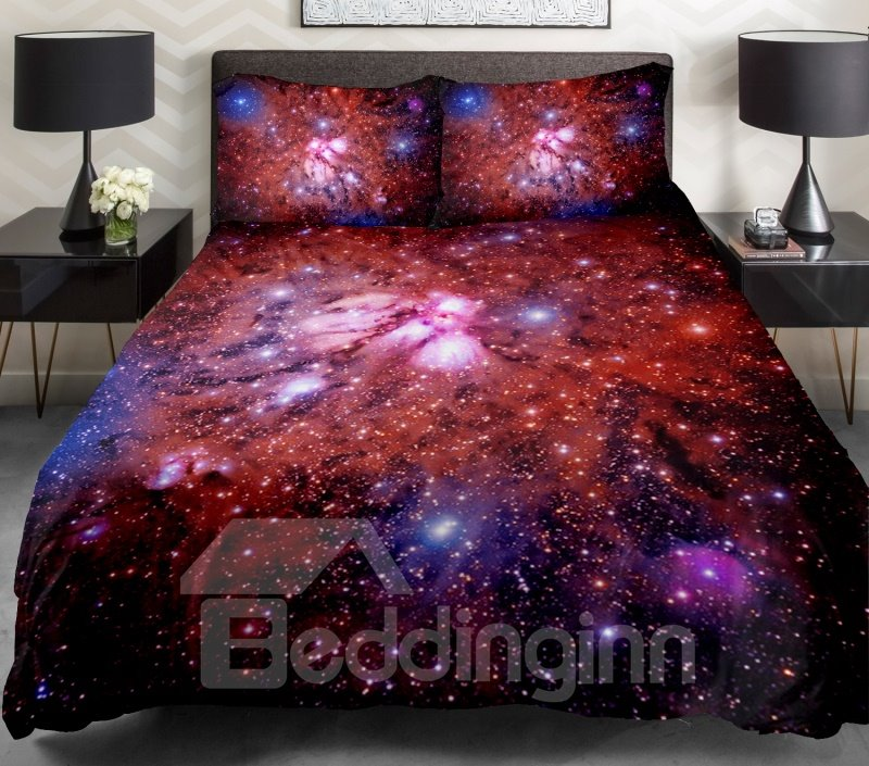 Splendid Red Galaxy Print 4-Piece Duvet Cover Sets